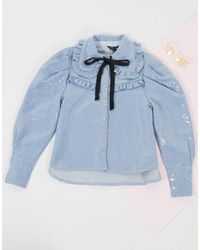 Sister Jane Oversized Shirt With Frill Collar - Blue