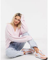 ASOS V Neck Fluffy Jumper - Pink