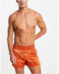 ASOS Calzoncillos naranjas estilo bóxers con cinturilla ancha - Marrón