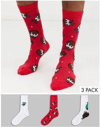ASOS Confezione da 3 paia di calzini con stampa di pudding natalizio e dinosauro - Risparmia - Rosso