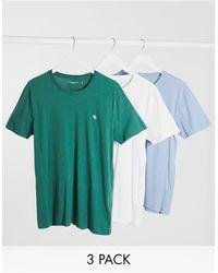 Abercrombie & Fitch 3 Футболки (белая/синяя/зеленая) С Логотипом -многоцветный - Зеленый
