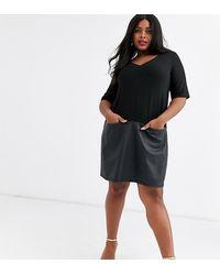 ASOS Asos Design Curve Shift Dress With Leather Look Hem - Black