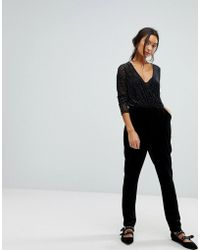 9896764935d8 Asos Exclusive Bodyfit Jumpsuit With Mesh Sweetheart in Black - Lyst