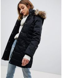 Vero Moda Padded 3/4 Length Coat With Faux Fur Trim - Black