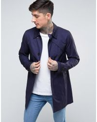 Pretty Green - Mayfair Trench Coat In Navy - Lyst