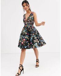 Bronx and Banco Bronx & Banco Paradise Embroidered Flared Dress-multi - Black