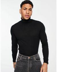 ASOS Cotton Rollneck Sweater - Black