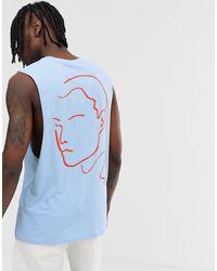ASOS Ruimvallend Mouwloos T-shirt Van Biologisch Katoen Met Print - Blauw