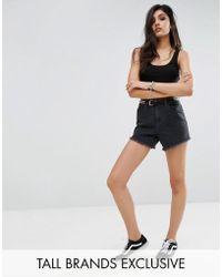 Noisy May Tall - Washed Denim Shorts - Lyst