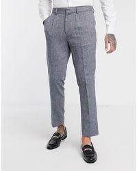 Burton Slim Pleated Smart Trousers - Grey