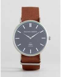 Racing Green - Brown Strap Watch With Round Black Dial - Lyst