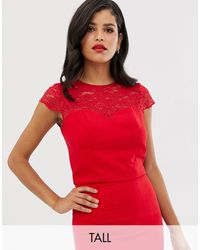 Chi Chi London Lace Detail Shell Top Co-ord - Red