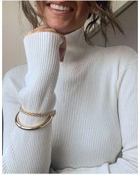 ASOS Multirow Bangle Bracelet With Chain - Metallic