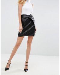ASOS Textured Leather Look Mini Skirt With Tulip Waist - Black