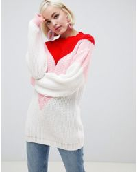 Glamorous - Relaxed Jumper With Chevron Colour Block - Lyst