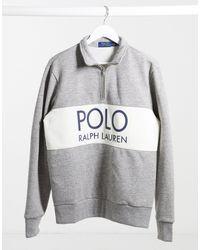Polo Ralph Lauren - Эксклюзивный Серый Свитшот С Воротом На Молнии И Логотипом На Вставке X Asos - Lyst