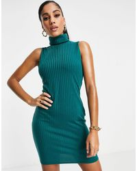 I Saw It First Racer Back Ribbed Mini Bodycon Dress - Green