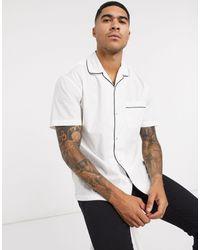 Jack & Jones Premium Short Sleeve Revere Collar Shirt With Piping - White
