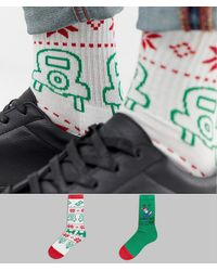 ASOS 2 Pack Christmas Socks With Monopoly Design Save - Green