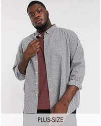 Jacamo Shirt With Ditsy Floral Print - Grey