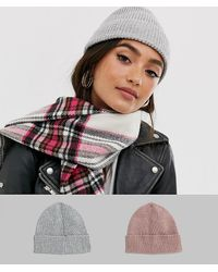 ASOS 2 Pack Fisherman Rib Beanie In Pink And Light Grey In Recycled Polyester - Multicolour