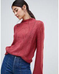 Vila - Open Knit Cable Knit High Neck Jumper - Lyst