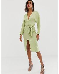 ASOS Атласное Платье Миди С Запахом И Рукавами Летучая Мышь - Зеленый