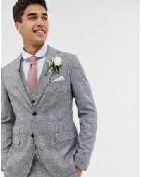 Moss Bros Moss London Skinny Suit Jacket With Check Boucle - Gray