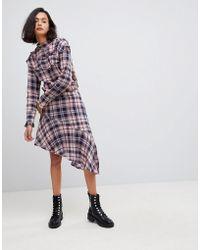 Vero Moda - Asymetric Check Skirt - Lyst