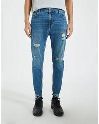 Pull&Bear Облегающие Премиум-джинсы Голубого Цвета С Рваной Отделкой -голубой - Синий