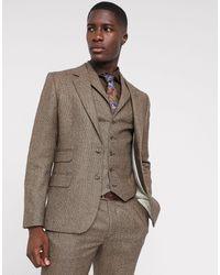 ASOS Slim Suit Jacket - Brown