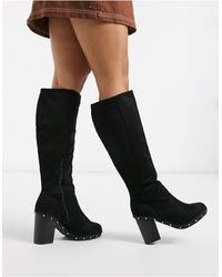 New Look Черные Сапоги С Заклепками -черный