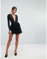 Lioness Layered Mini Tulle Skirt - Black