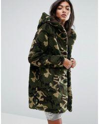 Pull&Bear Faux Fur Camo Hooded Jacket - Green