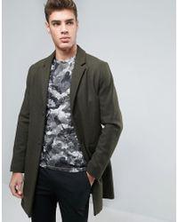 Pull&Bear Wool Overcoat In Khaki - Green