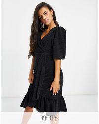 Y.A.S Petite Y.A.S. Petite - Scarlet - Robe mi-longue à paillettes et manches bouffantes - Noir