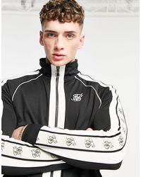 SIKSILK Premium Tape Funnel Zip Sweatshirt - Black