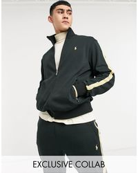 Polo Ralph Lauren X Asos Exclusive Collab Zip Thru Track Jacket With Gold Tipping And Logo - Black