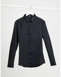 River Island Черная Обтягивающая Рубашка Из Поплина С Длинными Рукавами -черный Цвет