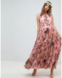 ASOS - Asos Design Maternity Pleated Short Sleeve Maxi Dress In Pink Floral Print - Lyst