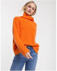 SELECTED Femme - Hoogsluitende Trui Van Katoenmix - Oranje
