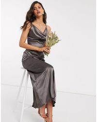 TFNC London Серое Атласное Платье Макси Со Свободным Воротом Bridesmaid-серый