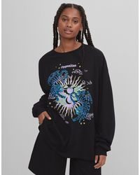 Bershka Oversized Long Sleeve T-shirt With Tiger Graphic - Black