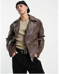 ASOS Faux Leather Biker Jacket - Brown