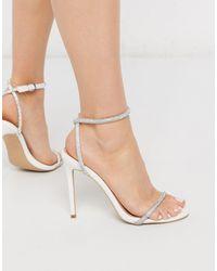 SIMMI Shoes Simmi London - Samia - Sandali con tacco bianchi pitonati decorati - Bianco