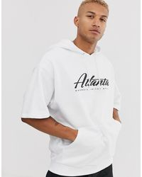 ASOS Short Sleeve Oversized Hoodie In White With City Print