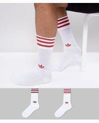 adidas Originals - Adicolor Crew Socks In Red Ce5712 - Lyst