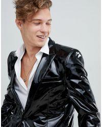 ASOS - Skinny Suit Jacket In Black Pvc - Lyst