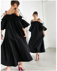 ASOS - Черное Хлопковое Платье Миди С Оборками И Открытыми Плечами -черный Цвет - Lyst