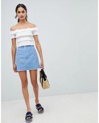 Miss Selfridge - Cord A-line Mini Skirt In Blue - Lyst